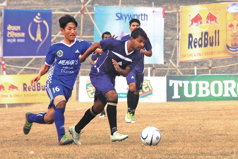 Players of Durgapur Steel FC and Dharan FC (left) in action during their Budha Subba Gold Cup match in Dharan on Sunday. Photo: THT