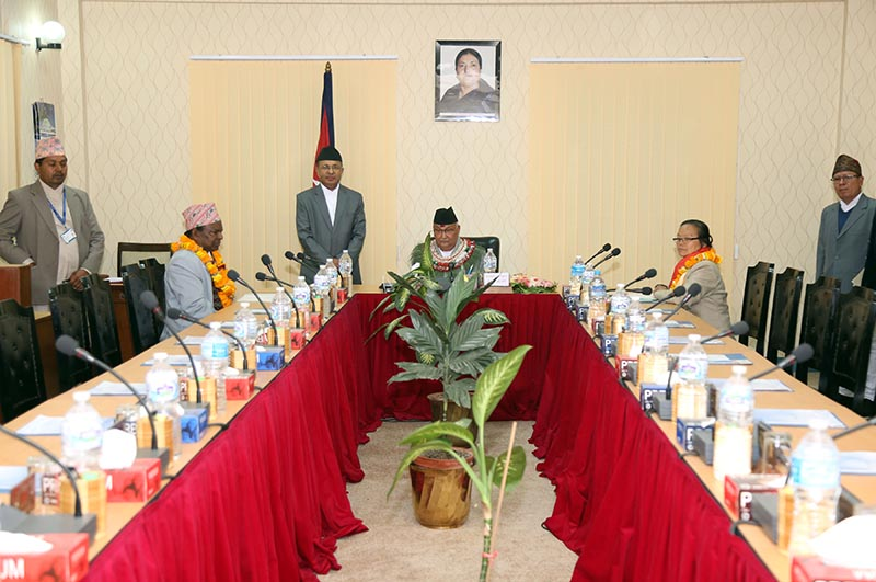 The first meeting of the government formed under the premiership of KP Sharma Oli at the Office of the Prime Minister and Council of Ministers in Singhadarba, Kathmandu, on Thursday, February 15, 2018. Photo: RSS