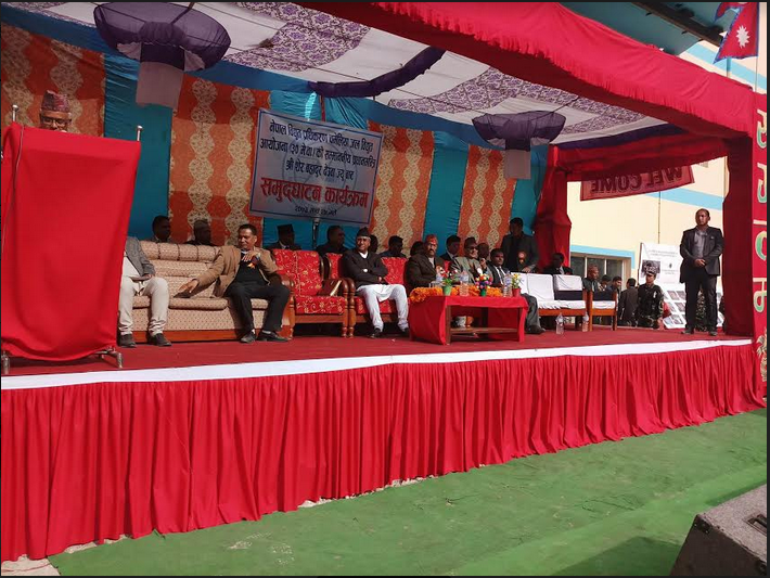 Prime Minister Sher Bahadur Deuba along with others attending the inauguration ceremony of Chameliya Hydropower Project in Darchula of Province 7 on Saturday. Photo: Tekendra Deuba