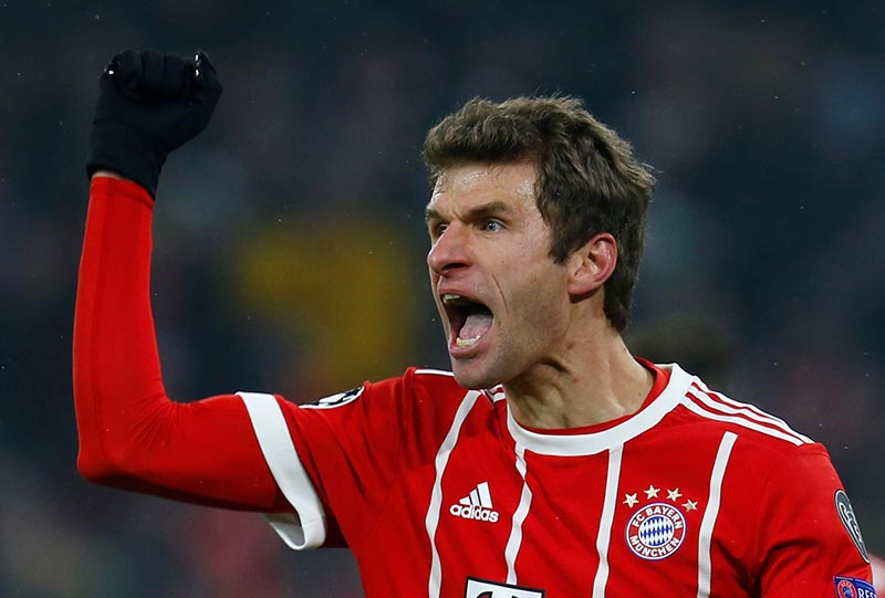 Bayern Munich's Thomas Muller celebrates scoring their third goal during the Champions League Round of 16 First Leg match between Bayern Munich and Besiktas, at Allianz Arena, in Munich, Germany, on February 20, 2018. Photo: Reuters