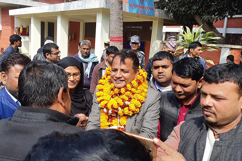 Mohammad Lalbabu Raut of Federal Socialist Forum-Nepal (FSFN) after being appointed the Chief Minister of Province 2 in Dhanusha, on February 14, 2018. Photo: RSS