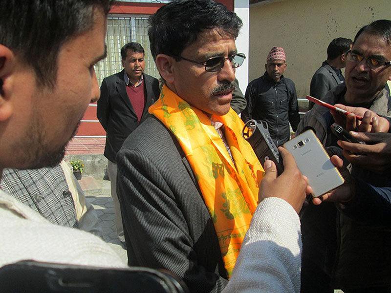 Parliamentary Party leader of CPN Maoist Centre, Trilochan Bhatta, speaking with mediapersons outside the Office of the Governor, after being appointed the Chief Minister of Province 7, in Dhangadhi, on February 15, 2018. Photo: RSS