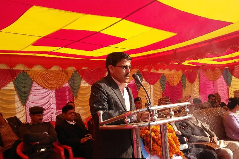 Chief Minister of Province 7 Trilochan Bhatta addressing public amid a programme marking 68th National Democracy Day, in Dhangadhi, on February 19, 2018. Photo: Tekendra Deuba