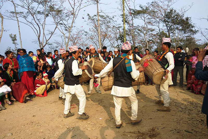 Members of Limbu community performing traditional Chyabrung dance in Ilam district, on Friday, February 02, 2018. Photo: RSS