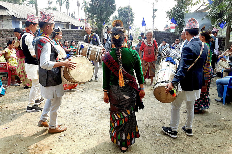 Members of Limbu community taking part in traditional Chyabrung dance in Jhapa, on Monday, February 18, 2018. Photo: RSS