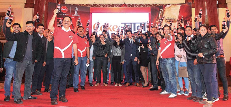 Coca-Cola Nepal officials launching a campaign in Kathmandu on Tuesday. Photo: THT