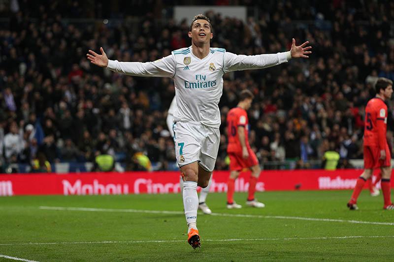 Real Madridu2019s Cristiano Ronaldo celebrates scoring their fourth goal. Photo: Reuters
