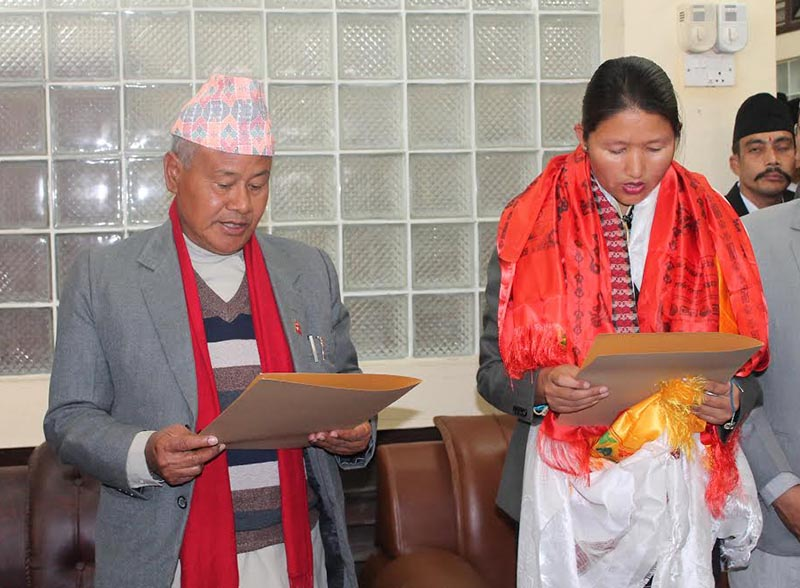 Speaker of Province 3, administering oath of office and secrecy to newly elected Deputy Speaker Radhika Tamang in Hetauda, on Sunday, February 11, 2018. Photo: THT