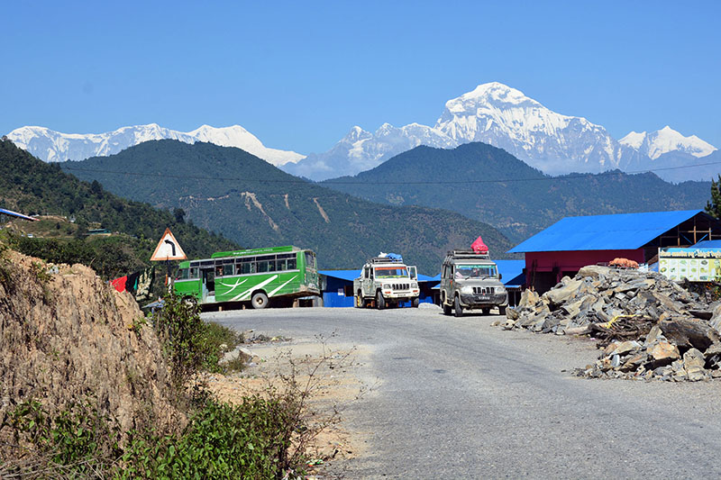 A panoramic view of Dhauligari mountain range as seen from Neta of Thama in Kathekhola Rural Municipality-8 in Baglung district, on Sunday, February 25, 2018. Photo: RSS