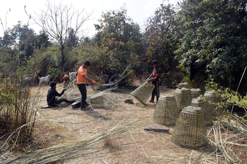 Workers weaving Doko (Nepali traditional bamboo basket) from nigalo bamboo in Raghuganga Rural Municipality-3 of Myagdi district, on 23 February, 2018. Photo: RSS