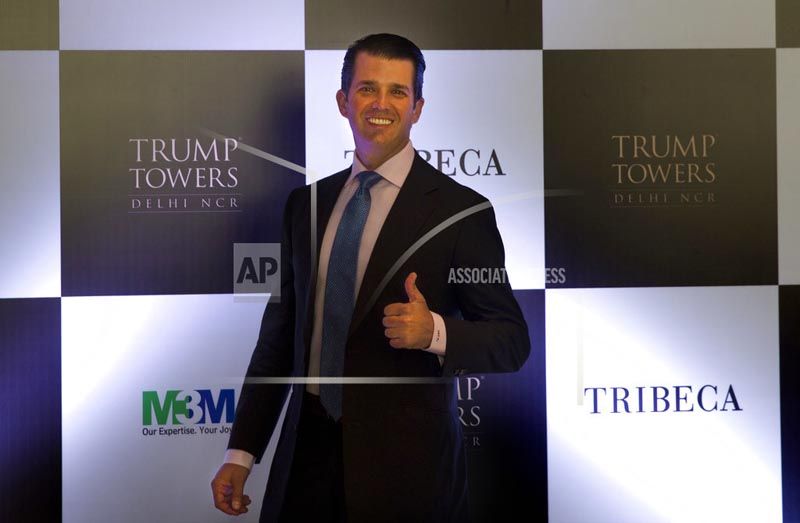 Donald Trump Jr. gives a thumbs up as he arrives for a meeting in New Delhi, India, Tuesday, February 20, 2018. Photo: AP
