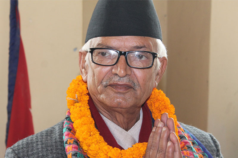 UML PP leader Dor Mani Paudel pose for a portrait after being appointed as Chief Minister of Province 4 in Hetauda, on Sunday. February 11, 2018. Photo: Prakash Dahal