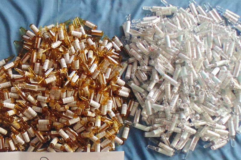 The Narcotics Control Bureau displaying seized controlled pharmaceutical drugs in Kathmandu, on Wednesday, February 28, 2018. Courtesy: NCB