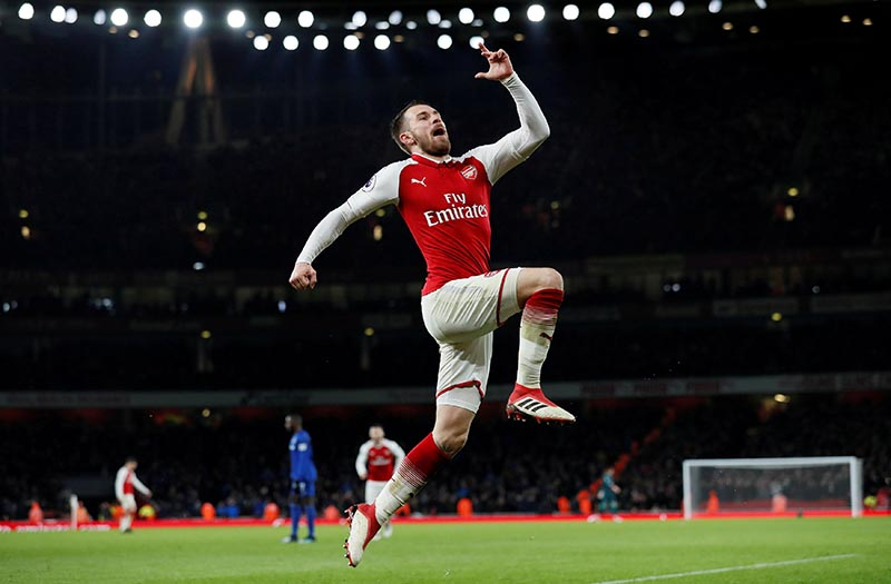 Arsenal's Aaron Ramsey celebrates scoring their fifth goal to complete his hat-trick during the Premier League match between Arsenal and Everton, at Emirates Stadium, in London, Britain, on February 3, 2018. Photo: Reuters