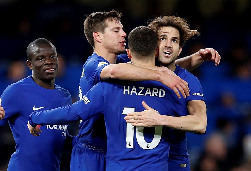 Chelsea's Eden Hazard celebrates scoring their third goal with Cesc Fabregas, Cesar Azpilicueta and N'Golo Kante during the Premier League, Chelsea and West Bromwich Albion, at Stamford Bridge, in London, in Britain, on February 12, 2018. Photo: Reuters
