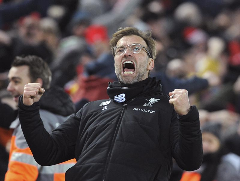 Liverpool manager Juergen Klopp celebrates after their second goal during the English Premier League soccer match between Liverpool and Tottenham Hotspur at Anfield in Liverpool, England, on Sunday, February 4, 2018. Photo: AP