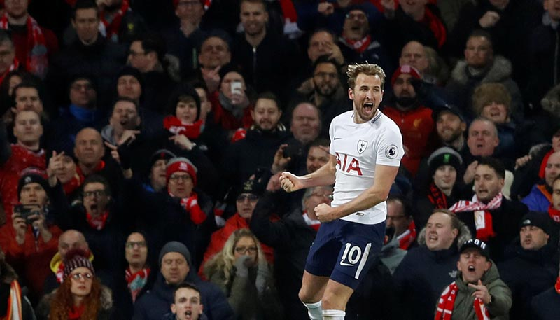 Tottenham's Harry Kane celebrates scoring their second goal during the Premier League match between Livepool and Tottenham Hotspur, at Anfield, in Liverpool, Britain, on February 4, 2018. Photo: Reuters