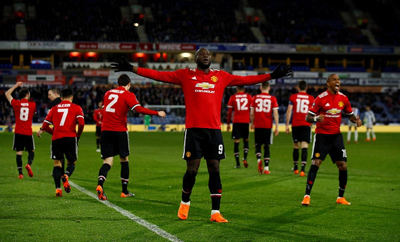 Manchester United's Romelu Lukaku celebrates scoring their second goal during the FA Cup Fifth Round match between Huddersfield Town and Manchester United, at John Smith's Stadium, in Huddersfield, Britain, February 17, 2018. Photo:  Action Images via Reuters