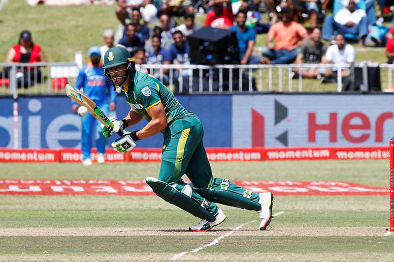 South Africa's Faf du Plessis plays a shot. Photo: Reuters