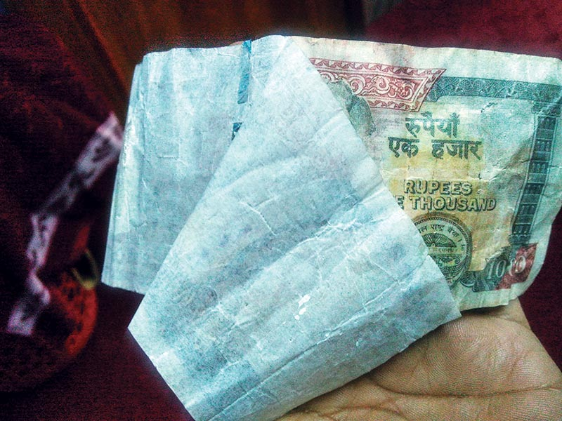 A fake Rs 1,000-note seized in Kathmandu, on Tuesday, February 27, 2018. Photo: THT