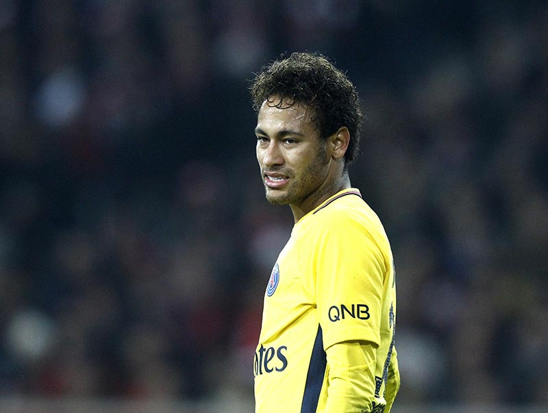 PSG's Neymar Jr is seen during his French League One soccer match between Paris Saint Germain and Lille at the Lille Metropole stadium, in Villeneuve d'Ascq, northern France, on Saturday, February 3, 2018. Photo: AP