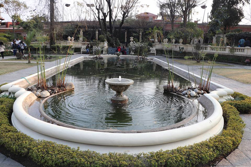 A view of a small water sprinkle to cool off during  spare time at Garden of Dreams Kathmandu on Saturday, February 17, 2018. Photo: Sushant Chandra Thakuri