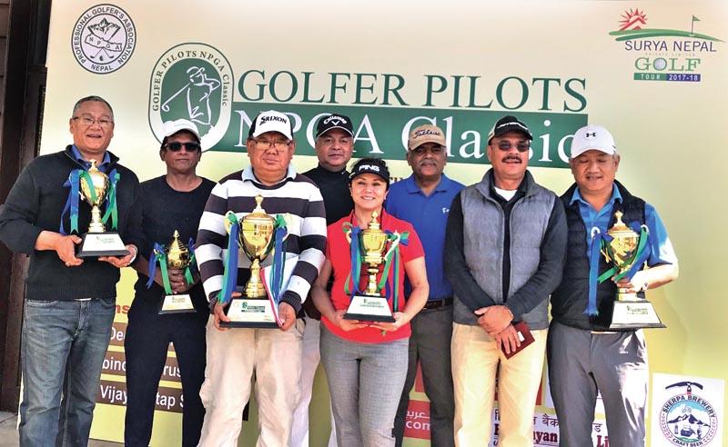 Winners of the Golfer Pilots NPGA Classic Pro-Am event at the Gokarna Golf Club in Kathmandu on Saturday, February 11, 2018. Photo: THT