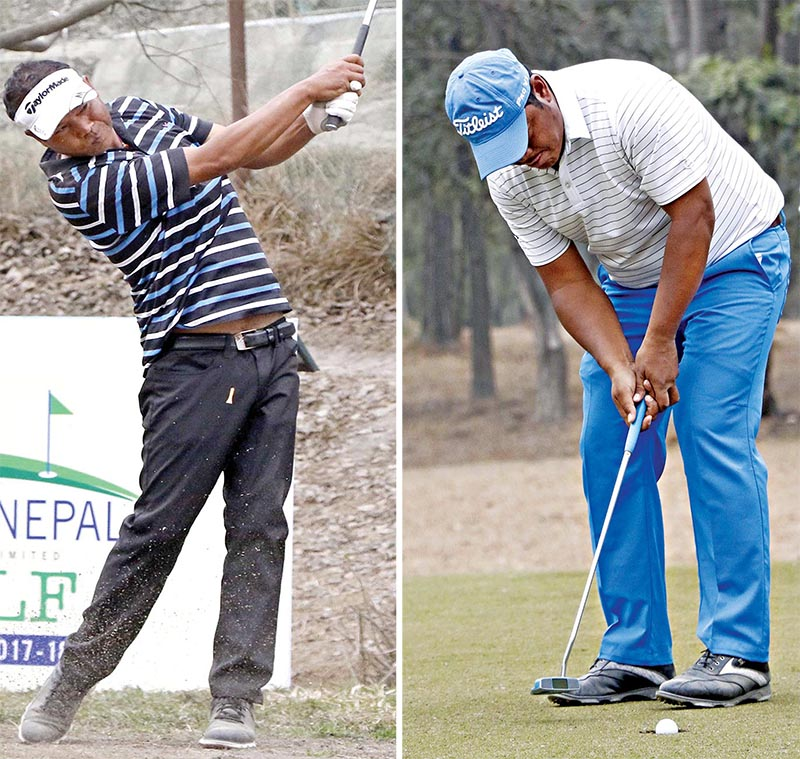 Shivaram Shrestha and Bhuwan Nagarkoti (left) in action on the first day of the Golfer Pilots NPGA Classic at the RNGC on Wednesday. Photo: NPGA