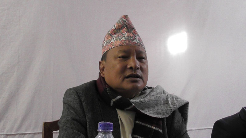 Governor of Province 1, Dr Govinda Subba, talking to mediapersons at an inauguration programme in Phidim, Panchthar, on February 20, 2018. Photo: Laxmi Gautam