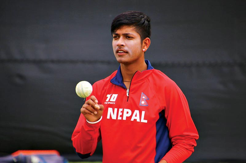 Nepalu2019s Sandeep Lamichhane prepares to bowl during a team training session at the Affies Park on Wednesday, ahead of their ICC World Cricket League Division-II match against Namibia. Photo Courtesy: Raman Shiwakoti