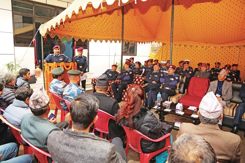Inspector General of Police Prakash Aryal speaking at a programme, in Kathmandu, on Thurday, Feb 1, 2018. Photo:THT