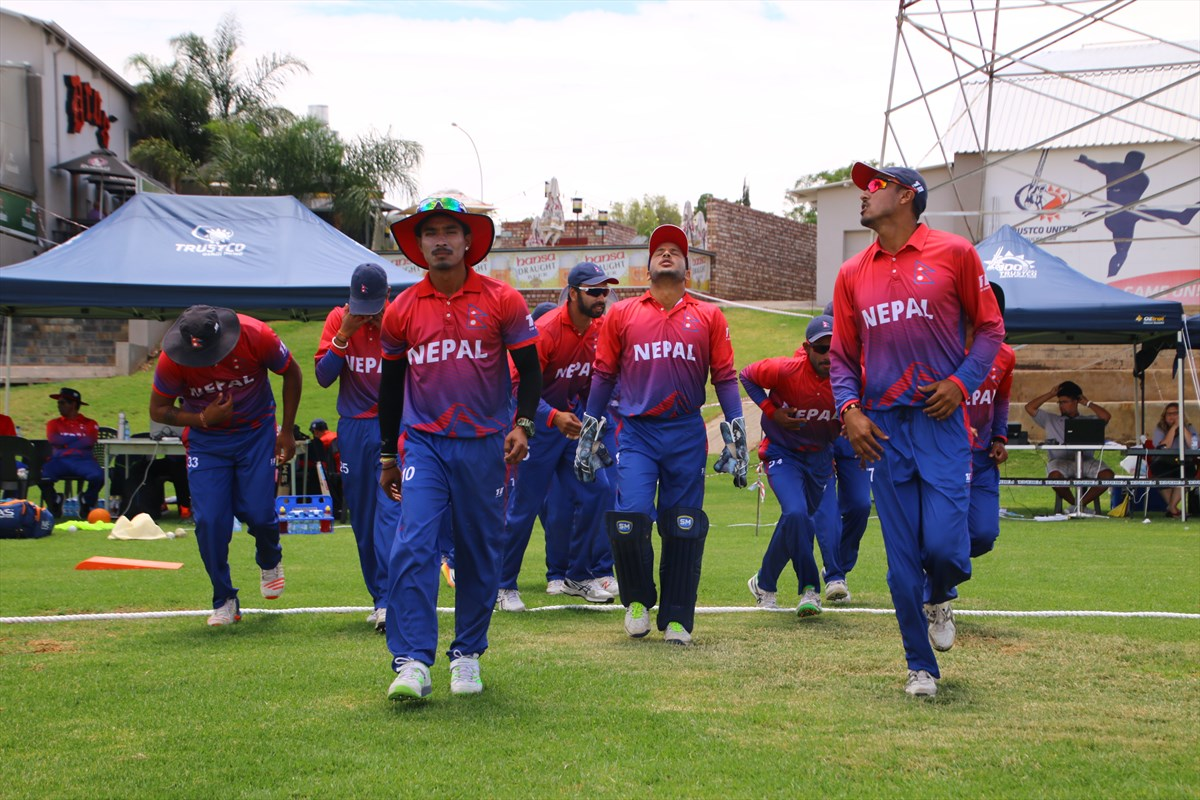 Nepali Cricketers aahead of UAE match in Namibia