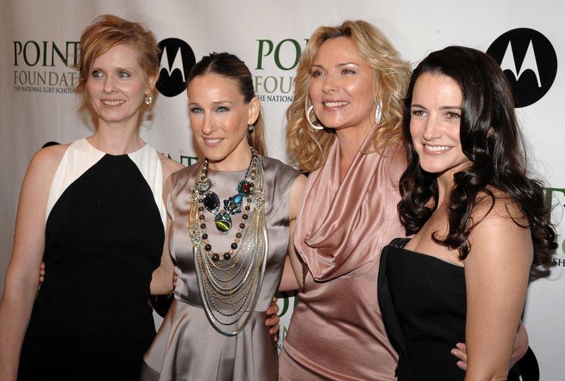 File - Cynthia Nixon, Sarah Jessica Parker, Kim Cattrall and Kristin Davis arrive at the 2008 Point Foundation Benefit in New York, on April 7, 2008. Photo: AP
