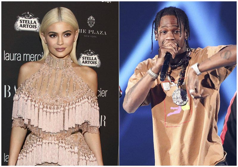 FIle - In this combination photo, TV personality Kylie Jenner, left, attends Harperu0092s Bazaar Icons celebration in New York, on Sept. 9, 2016, and rapper Travis Scott performs at the 2017 iHeartRadio Music Festival on Sept. 23, 2017, in Las Vegas. Photo: AP
