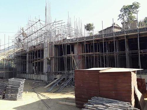 An under-construction building of Bhairab High School at Rainas Municipality, Lamjung, on Monday, February 5, 2018. The Chinese government has offered Rs 80 crore for construction of the buildings. Photo: THT