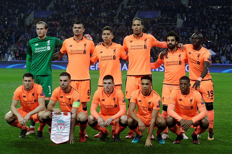 Liverpool players pose for a pre match photograph. Photo: Reuters