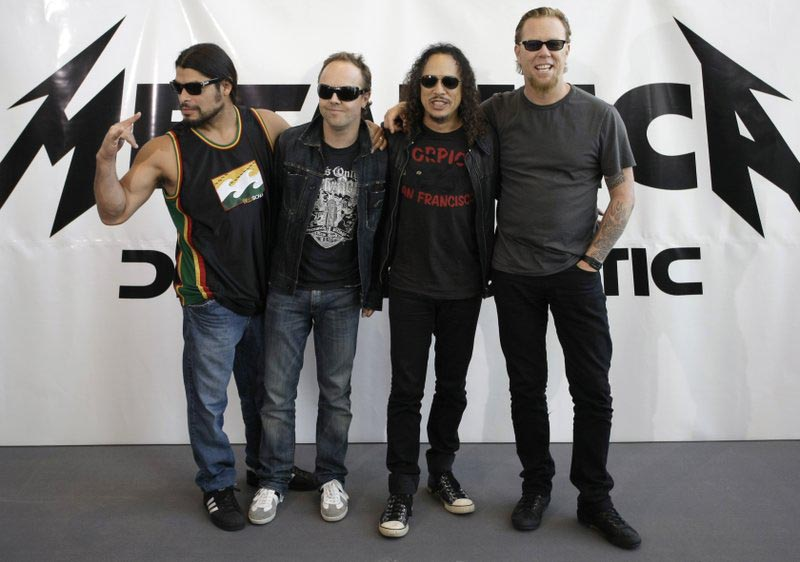 File - Members of heavy metal band Metallica Robert Trujillo, Lars Ulrich, Kirk Hammett and James Hetfield, from left, pose for the media while promoting their new album u0091Death Magneticu0092 in Berlin, on Friday, Sept. 12, 2008.