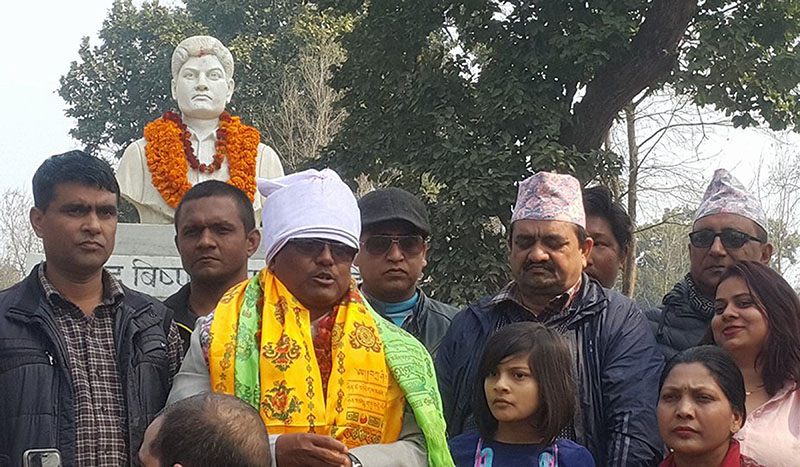 Newly appointed Minister for Infrastructure Development of Province 5, Baijanath Chaudhary, amid a programme, at the statue of Martyr Bishnu Pandey in Sunwal, Nawalparasi, on Friday, February 16, 2018. Photo: RSS