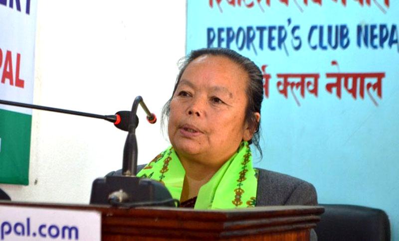 Women Children and Social Welfare Minister Thammaya Thapa. Photo: Dilkumar Ale Magar