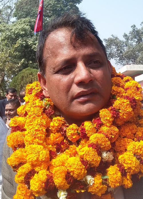 Mohammad Lalbabu Raut Gaddhi after being elected as chief minister of Province 2, in Janakpur, on Wednesday,February 14, 2018. Photo: THT