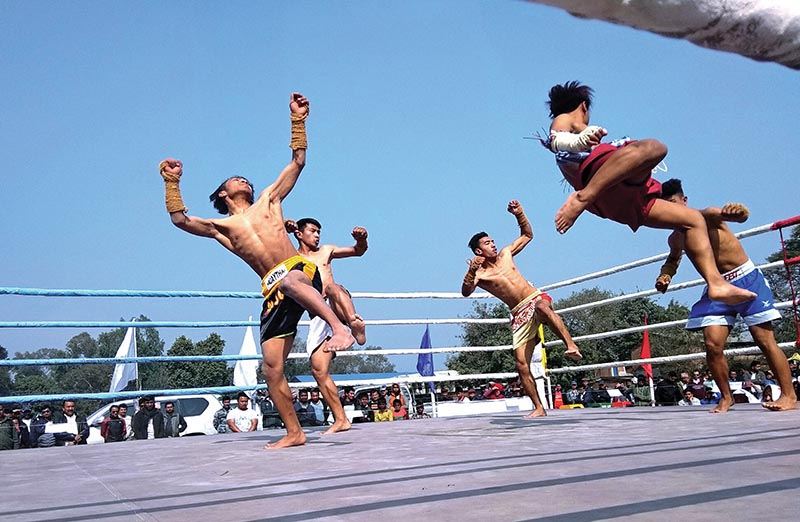Players perform in the waikru event of the Muay Thai Tournament under the first PrakashDahal Memorial National Sports Meet jointly organised by Nepal Martial Arts Academy and Nepal National Muay Thai Association, in Chitwan on Sunday. Photo: THT