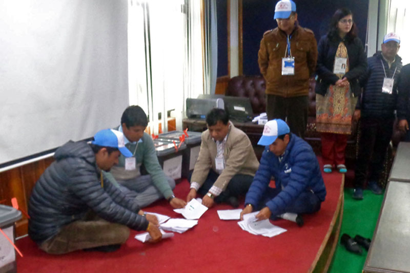 Election officials count the votes of the election to the National Assembly or Upper House in Pokhara, on Wednesday, February 07, 2018. Photo: RSS