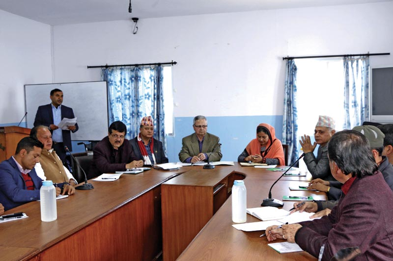 Chair of National Human Rights Commission Anup Raj Sharma (centre) participating  in an interaction, in Kathmandu, on Monday, February 5, 2018. Photo: THT