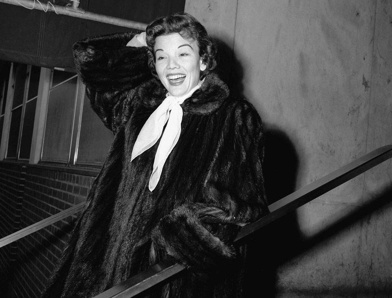 File - Actress Nanette Fabray poses as she leaves Mt. Sinai hospital in New York, on Dec. 10, 1955. Photo: AP