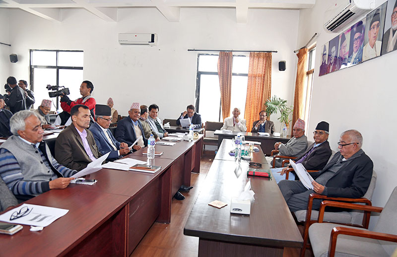 Nepali Congress leaders attending Central Working Committee meeting at party's office in Sanepa, Lalitpur, on Sunday, February 25, 2018. Photo: RSS