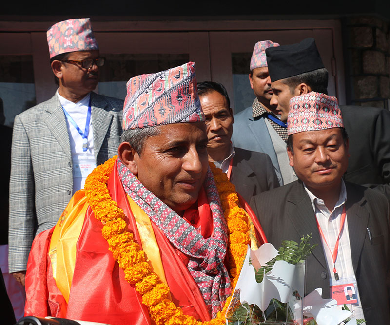 Speaker Netra Nath Adhikari after being unanimously elected to the post of Province 4, in Pokhara, on February 15, 2018. Photo: RSS