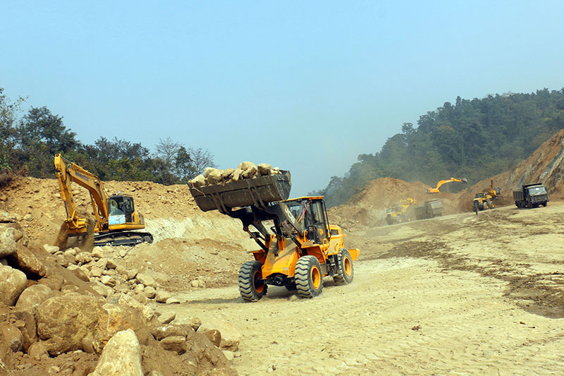 Heavy equipment being used for the construction of Kathmandu-Tarai fast track in Parsa district, on Saturday, Feburary 03, 2018. Photo: RSS