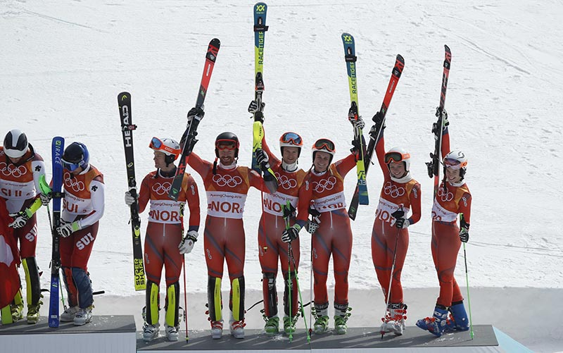 Bronze medallist Norway's Alpine Skiing team celebrate on the podium in Pyeongchang 2018 Winter Olympics in Pyeongchang, South Korea, on February 24, 2018. Photo: Reuters