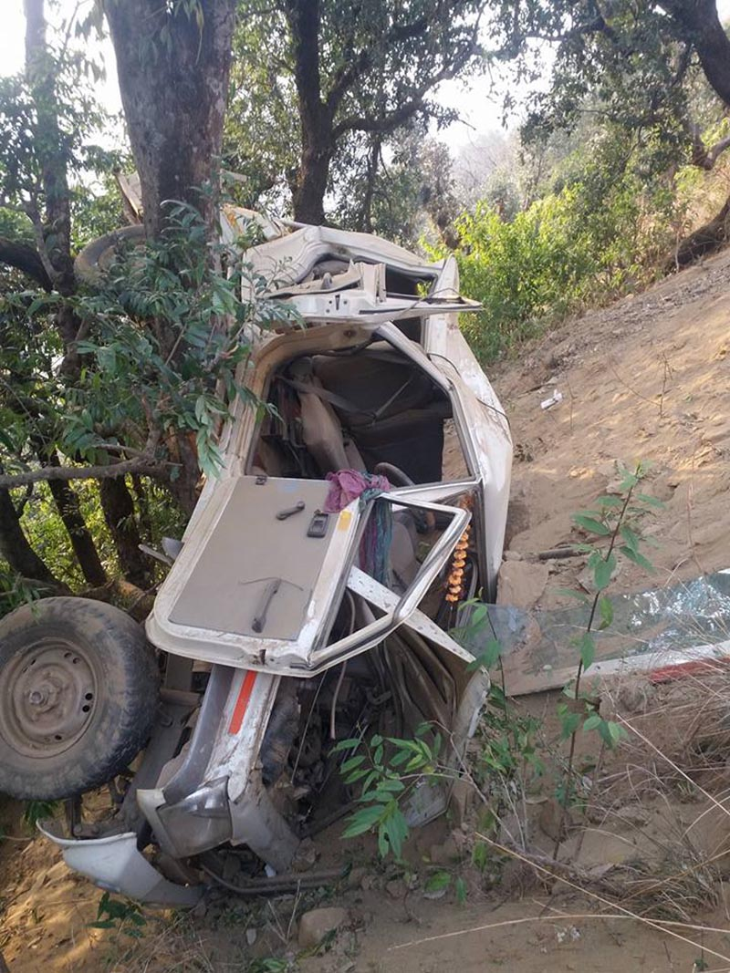 The wreckage of an ill-fated jeep that met with a tragic accident at Okhaldhunga of Mahabu Rural rMunicipality in Dailekh, on Thursday.m February 22, 2018. Photo: THT