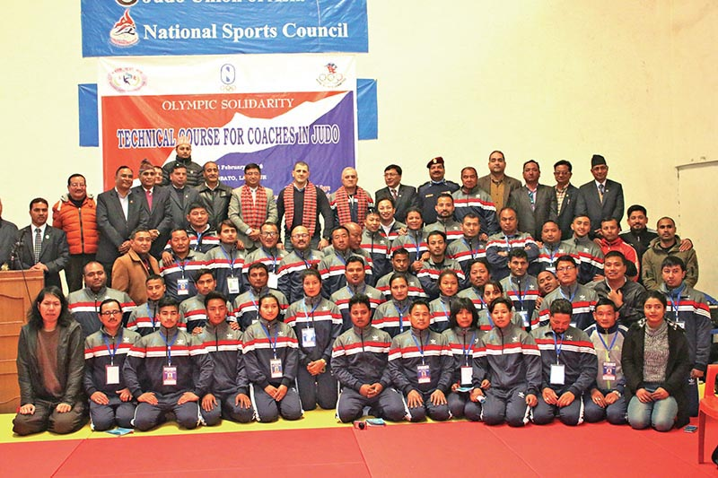 Participating judo coaches of Olympic Solidarity Technical Course pose for a group photo with officials at the International Sports Complex in Lalitpur on Wednesday. Photo: THT
